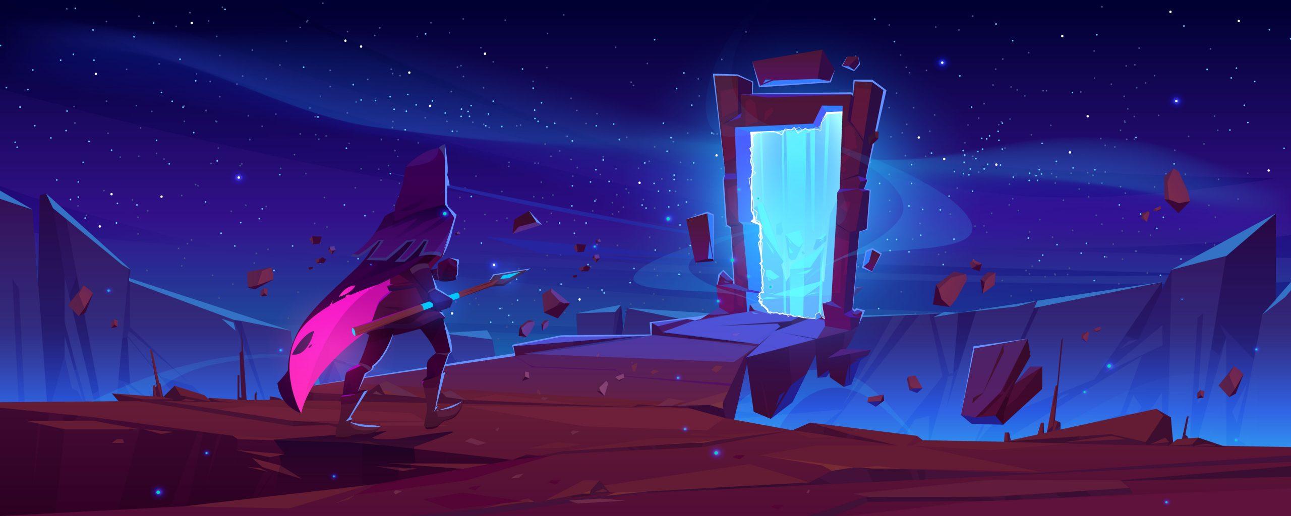 mago caminando hacia portal mágico